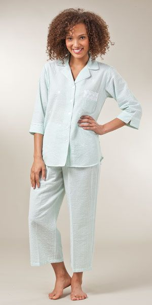Miss Elaine Seersucker Pajamas in Mint Stripe  17bf39053