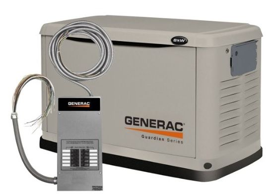 Generac 70321 11kw Guardian Generator With Wi Fi 100a 16 Circuit Transfer Switch Generator House Whole House Generators Standby Generators
