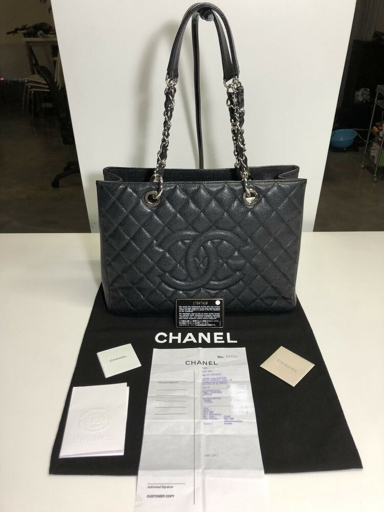 6ceb6656fa7a Chanel Black Caviar Quilted Grand Shopping Tote Bag GST SHW (2013 ...