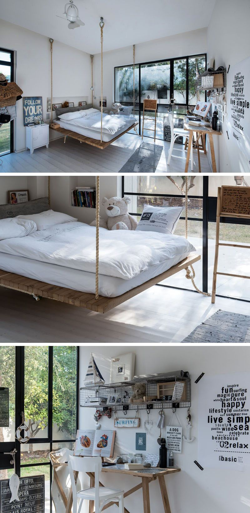 This Teenageru0027s Bedrooms Has A Bed That Is Suspended From The Ceiling Usingu2026