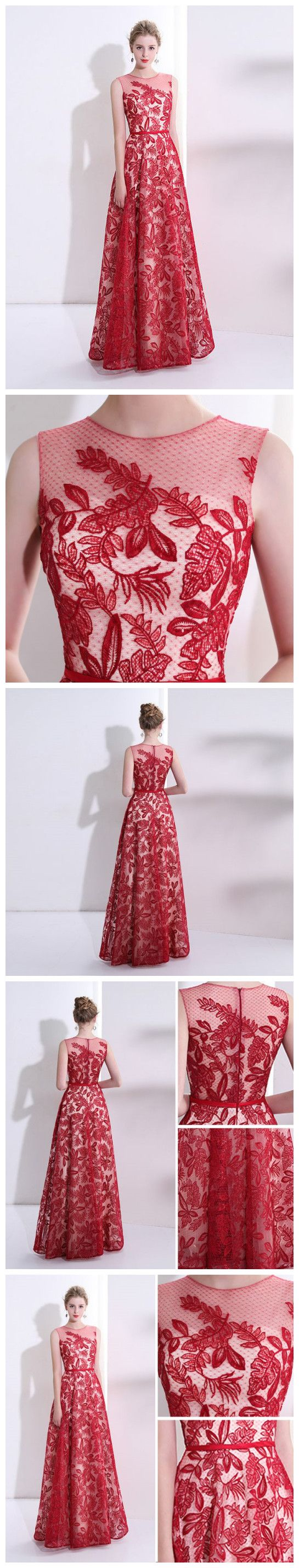 red long prom dresses scoop aline lace cheap prom dress