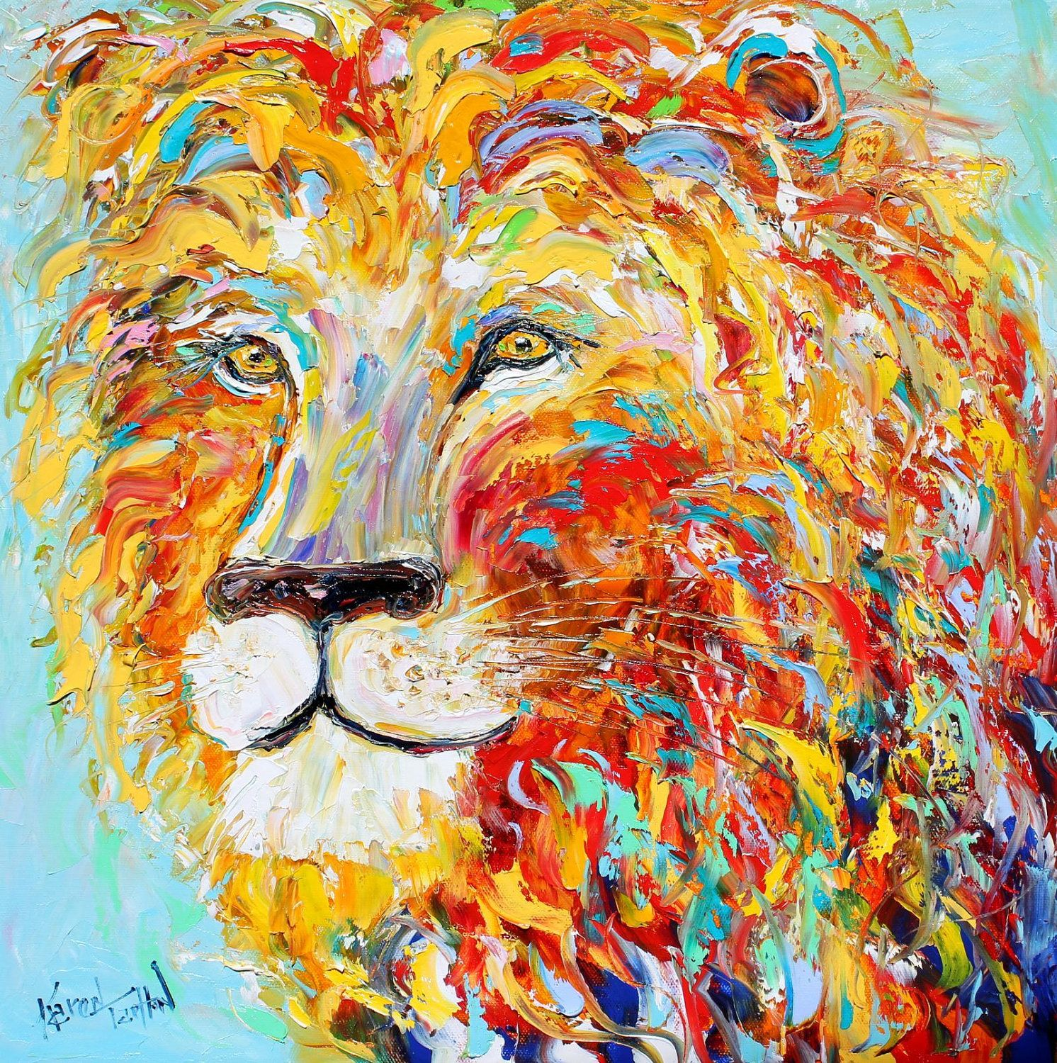 SALE - Abstract impressionism LION ANIMAL Portrait painting ...