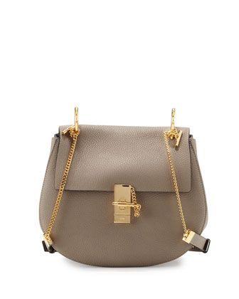 Drew Medium Grain Leather Shoulder Bag, Gray by Chloe at Neiman Marcus.