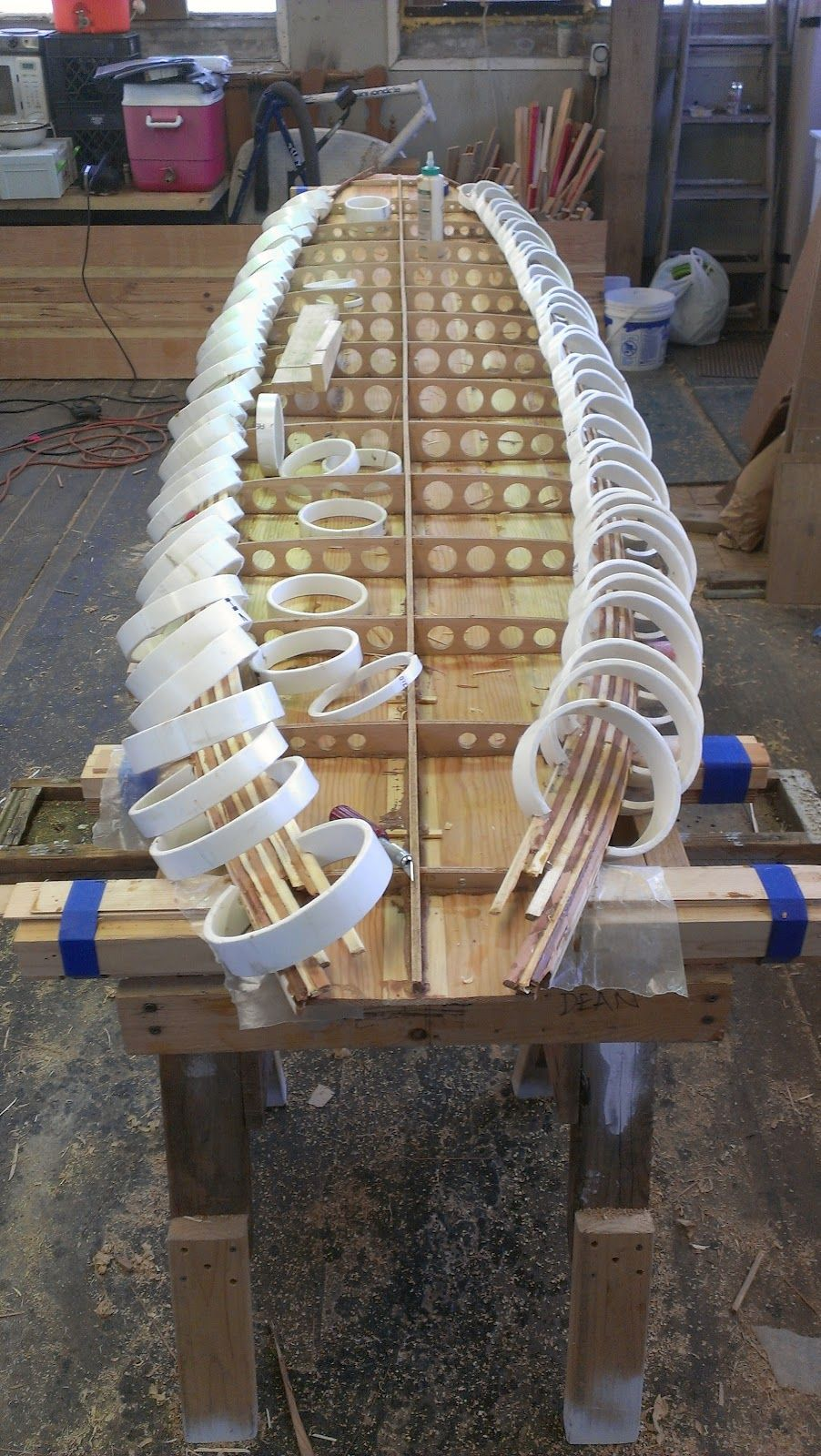 Side rails on a hollow wooden surfboard. Pvc clamps   wood working ...