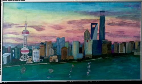 Acrylbild Shanghai Skyline Wolkenkratzer Acrylmalerei Anleitung