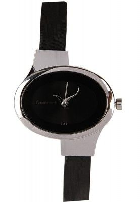 This Watch By Fastrack Is For The Woman Who Likes Interesting Shapes And Styling In Her Accessories The Black Leather Straps Are Placed Asymmetrically And The