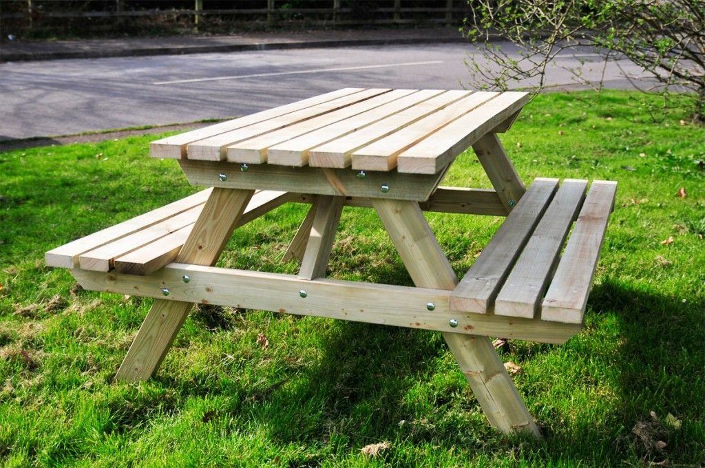 Traditional Wood Picnic Table Design Ideas