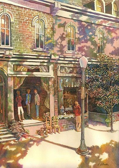 Downtown Shopping Painting Street Painting Cottage Art