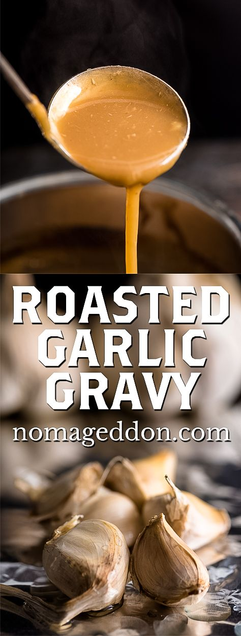 Roasted Garlic Gravy is your new go to gravy recipe with the perfect amount of umami. It can easily be made vegan, gluten free, or dairy free.