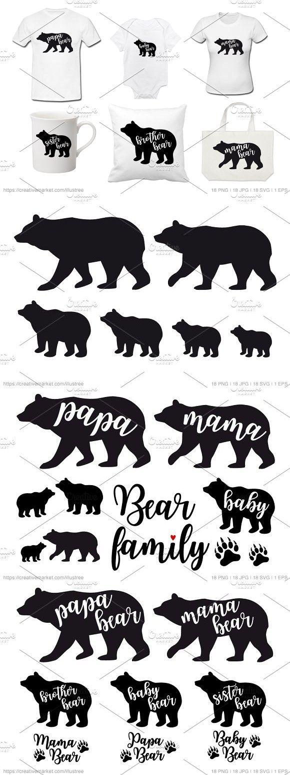 bear family silhouettes vector set bear mamabear mamabearsvg