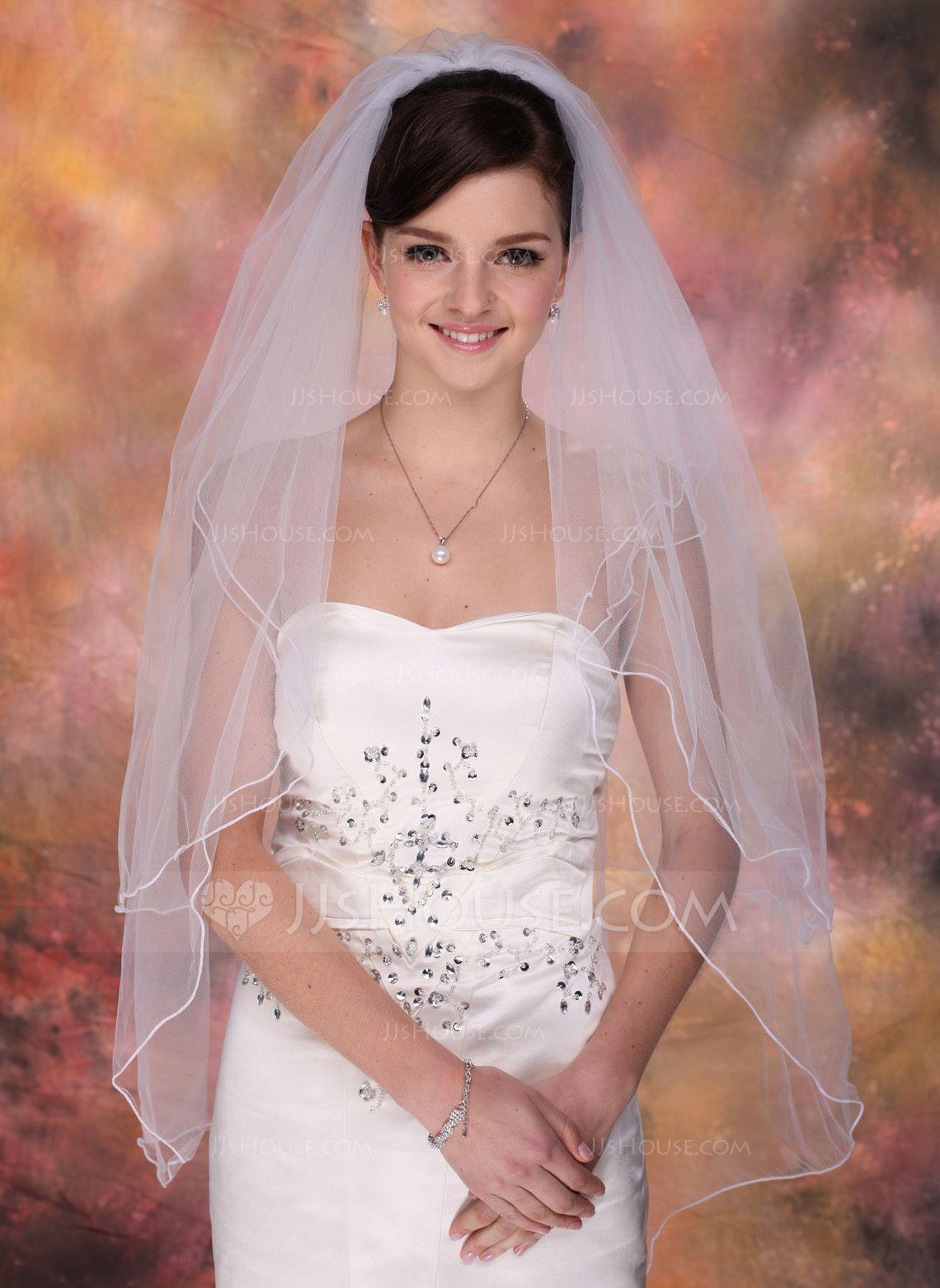 Twotier fingertip bridal veils with pencil edge