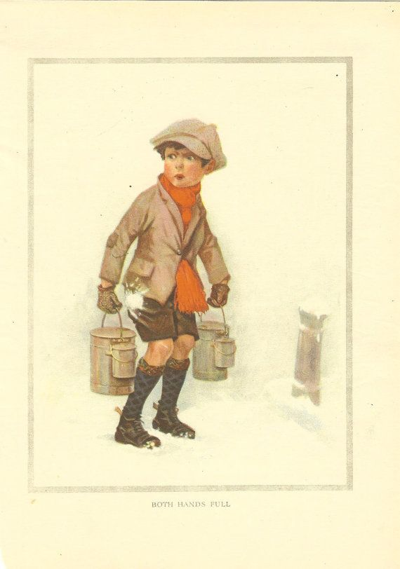 Vintage 1923 Children's Print  Young Boy Peaked Cap Red Scarf Water/ Food Container / Can Snowing Snowball Book Plate Book Illustration