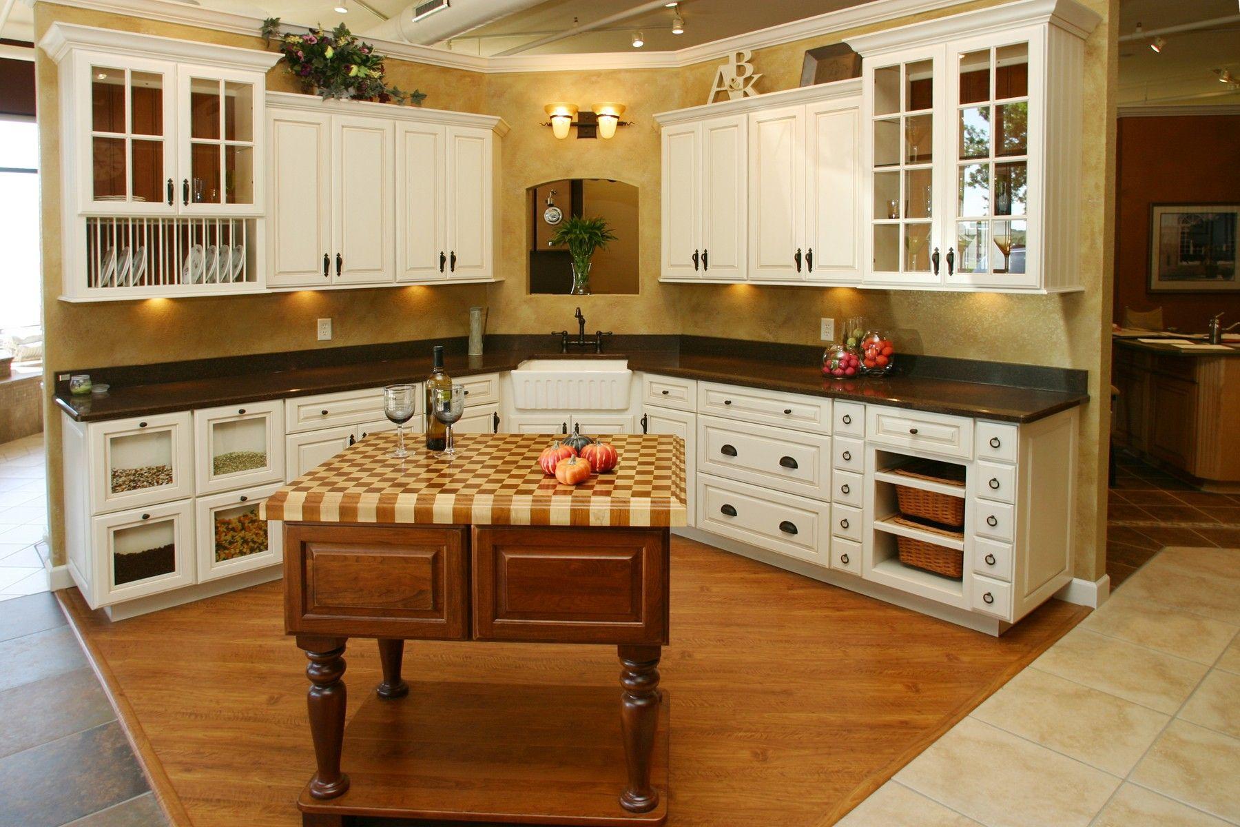 Appealing L Shaped White Finish Teak Wood Kitchen Cabinets ...