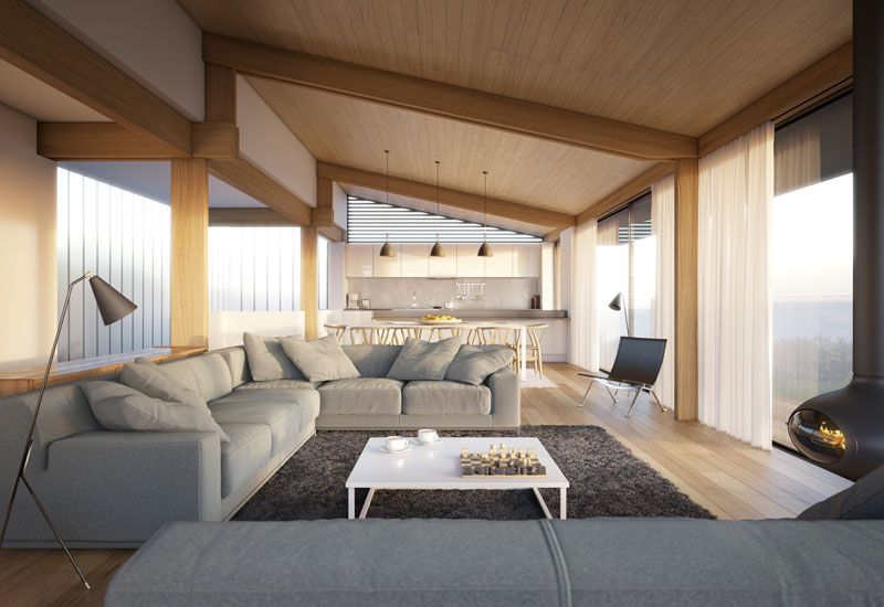 Dise o de sala moderna con techo inclinado de - Casas de madera de diseno moderno ...