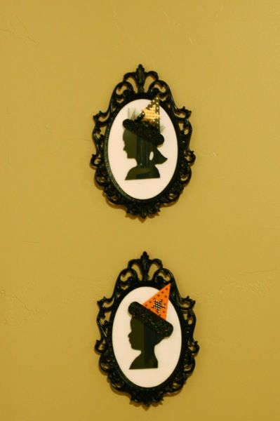 Add witches hats to framed silhouettes for Halloween!  Can't wait to do this!