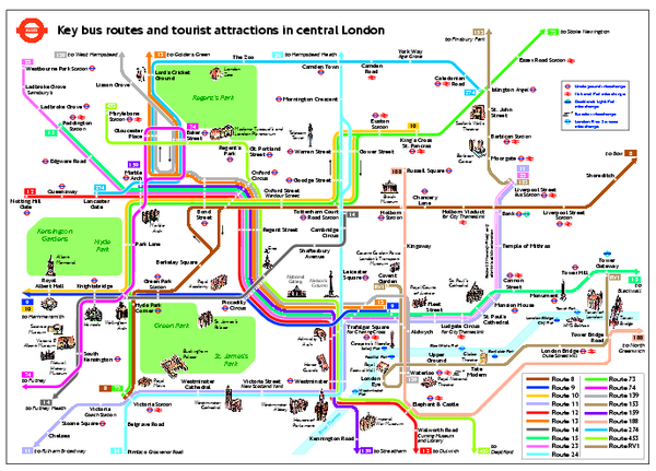 London Tourist Map Central London Tourist and Bus map London