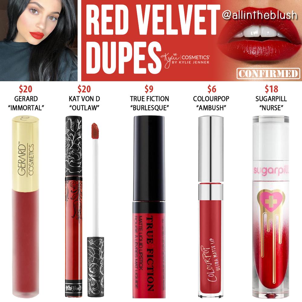 Kylie Cosmetics Red Velvet Liquid Lipstick Dupes Lipstick Dupes