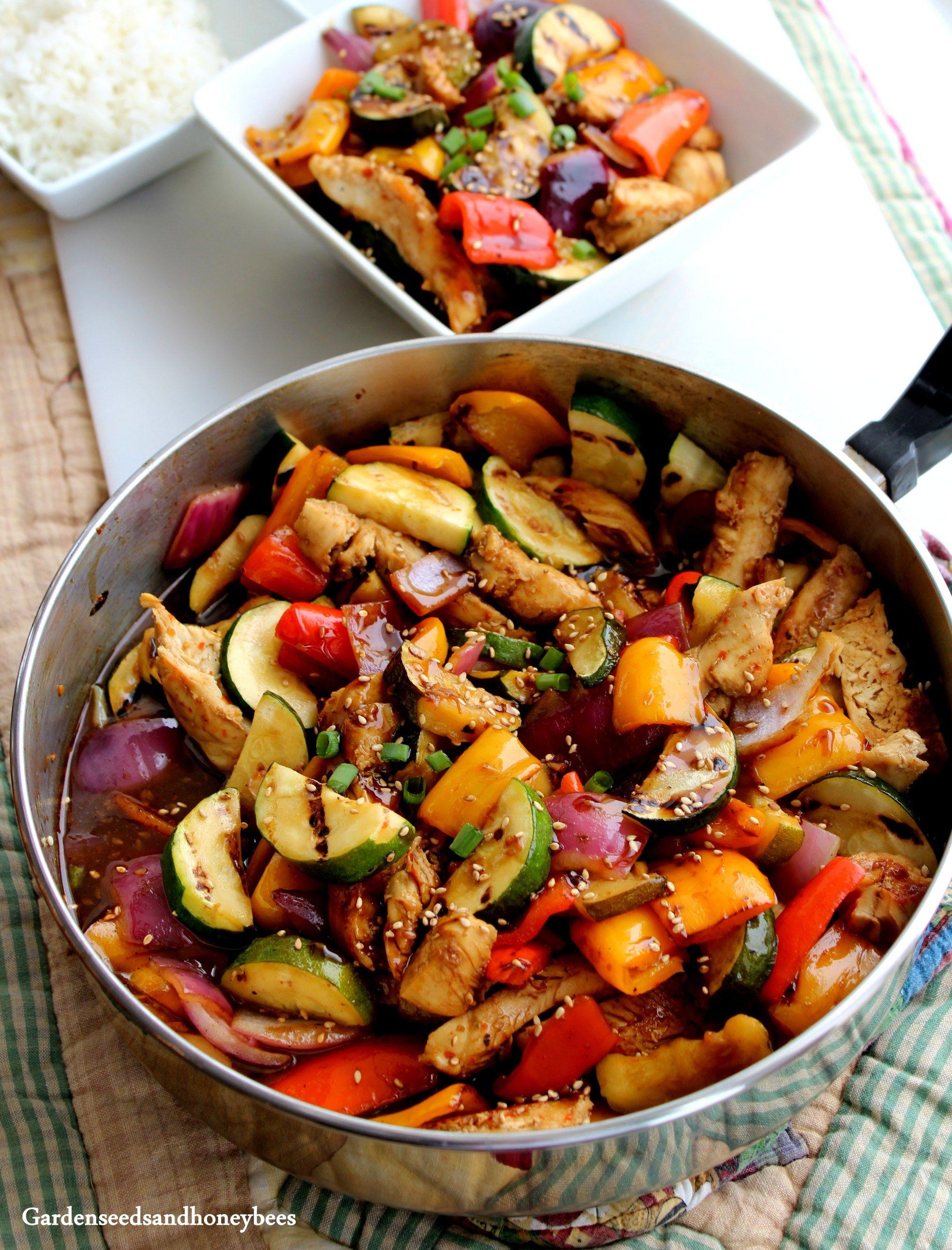 Grilled Vegetables Chicken Teriyaki Bowls - Garden Seeds and Honey ...