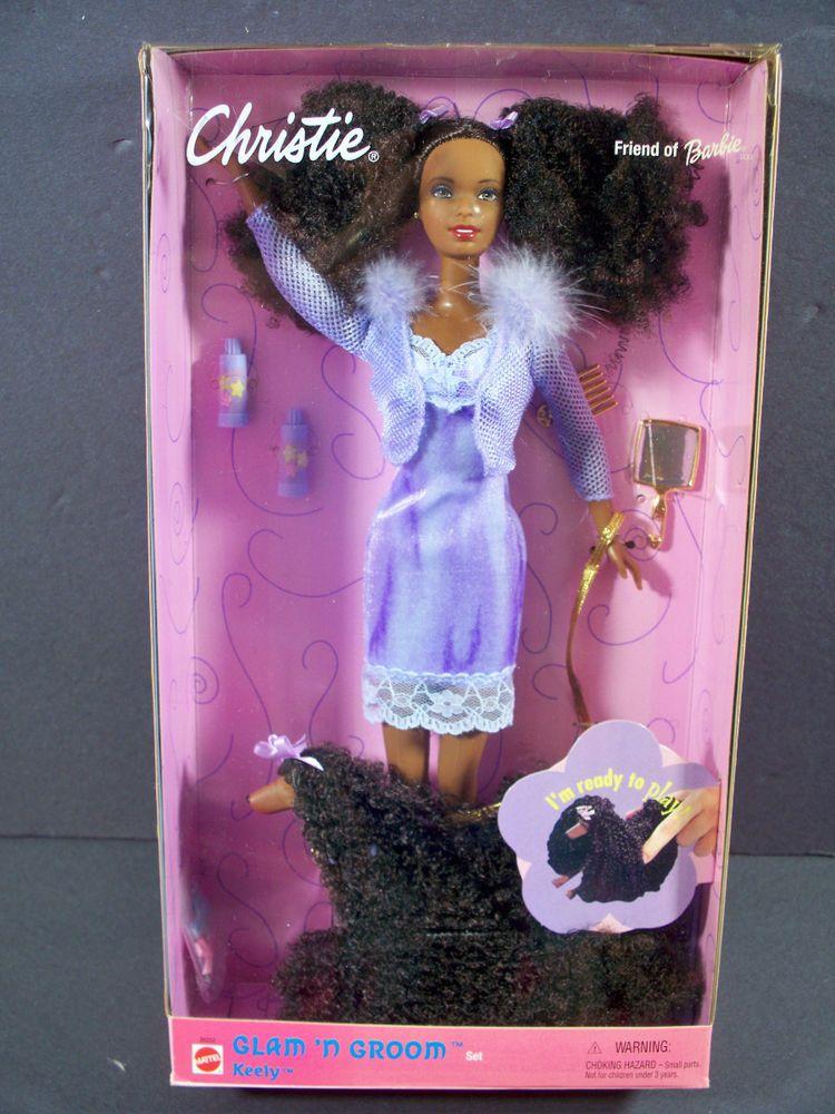 1999 Nib Barbie Doll Christie Glam N Groom Pet Dog Keely