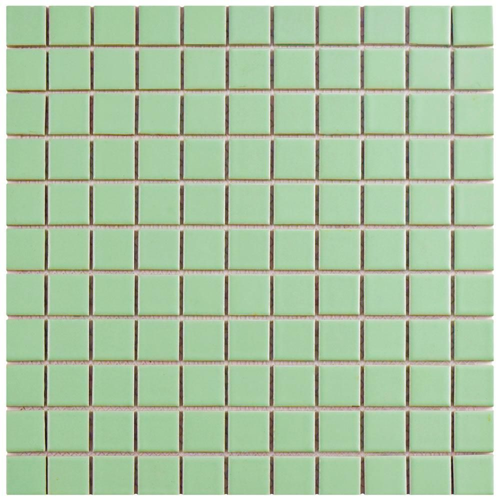 Merola Tile Metro Square Matte Light Green 11 3 4 In X 11 3 4 In X 5 Mm Porcelain Mosaic Til Mosaic Flooring Porcelain Mosaic Porcelain Mosaic Tile