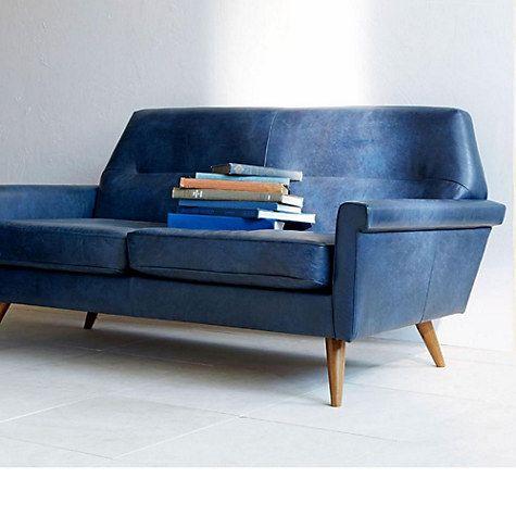 West Elm Denmark Leather Loveseat Navy Love Seat Blue Leather Sofa Sofa Design