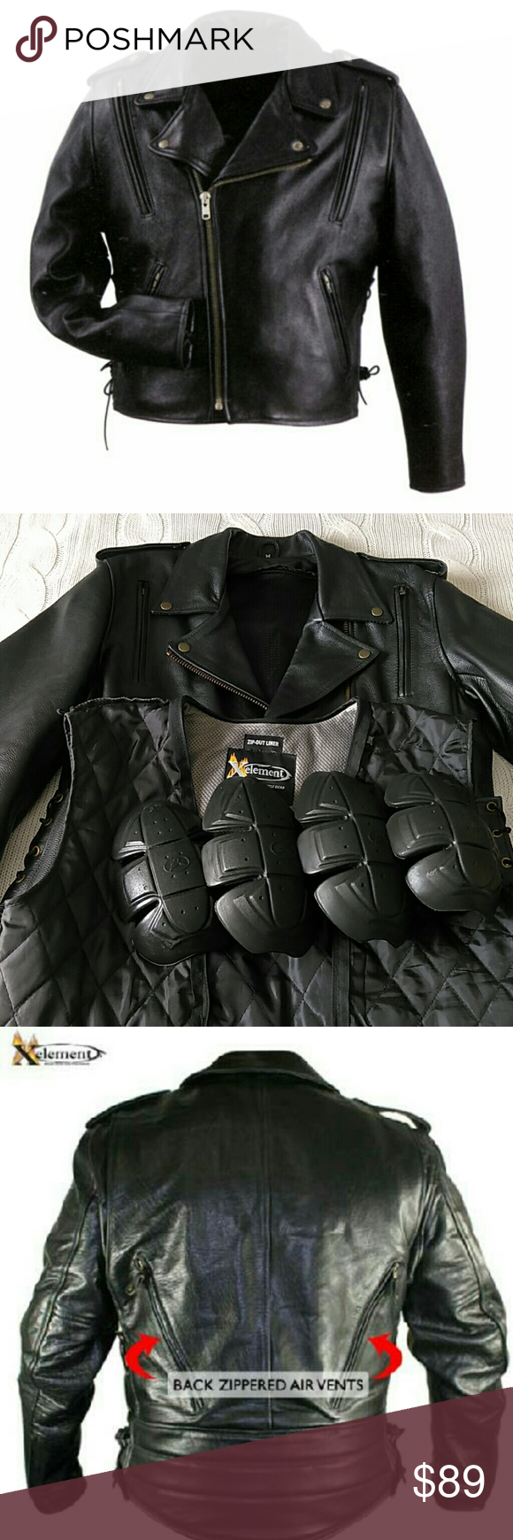 New Leather Motorcycle Jacket Pads Vest Pinterest Motorcycle
