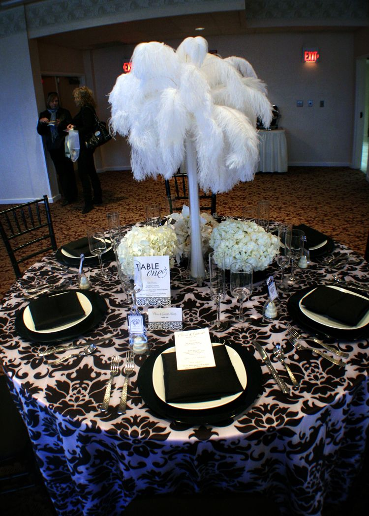 Black white damask linen with ostrich feathers and
