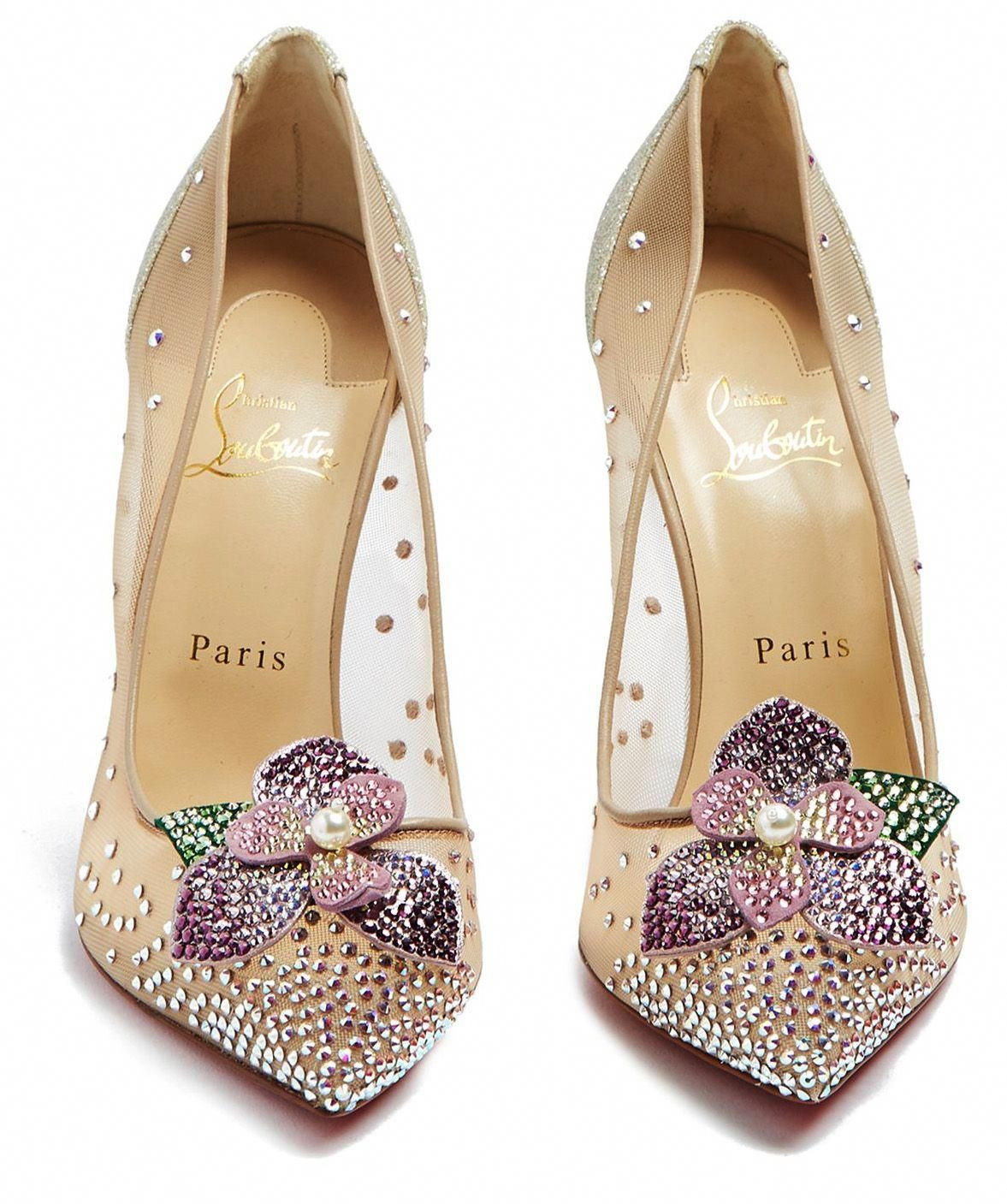 0298784b27e4 Christian Louboutin s nude Feerica 110 crystal-flower embellished pumps are  a whimsical delight  ChristianLouboutin