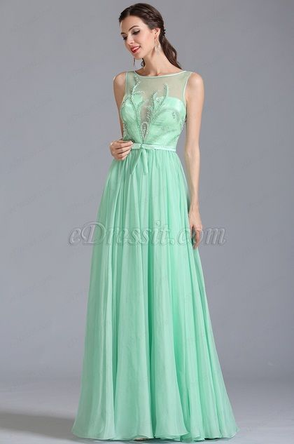 Sleeveless Embroidered Mint Evening Dress Formal Gown 00154604