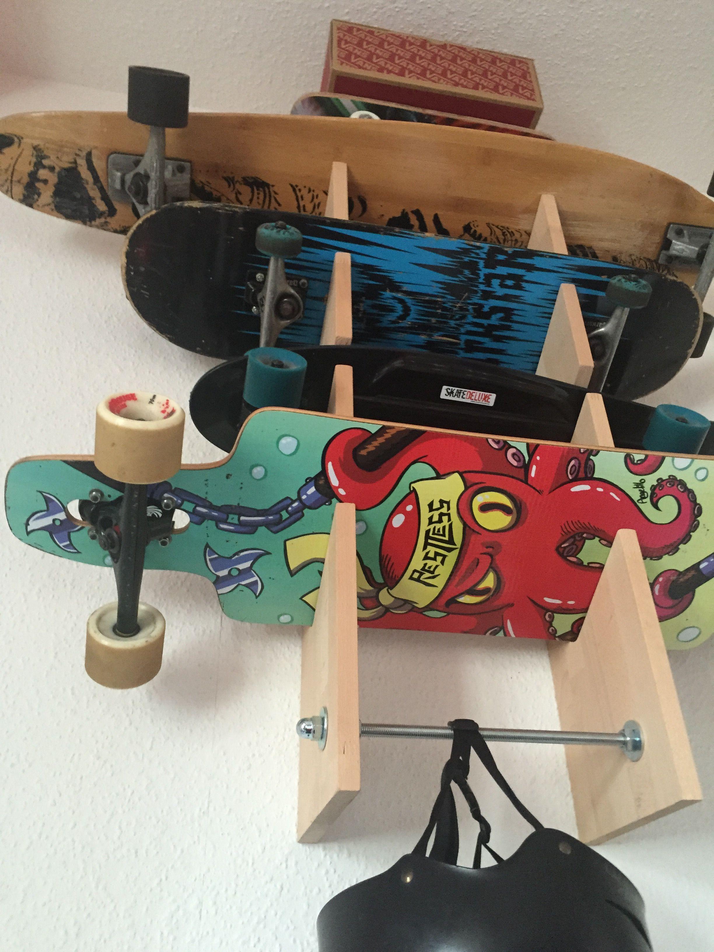 Kleine Bauanleitung Für Den Bau Einer Skate  Und Longboard Wandhalterung.  #Skaterack #skatemount