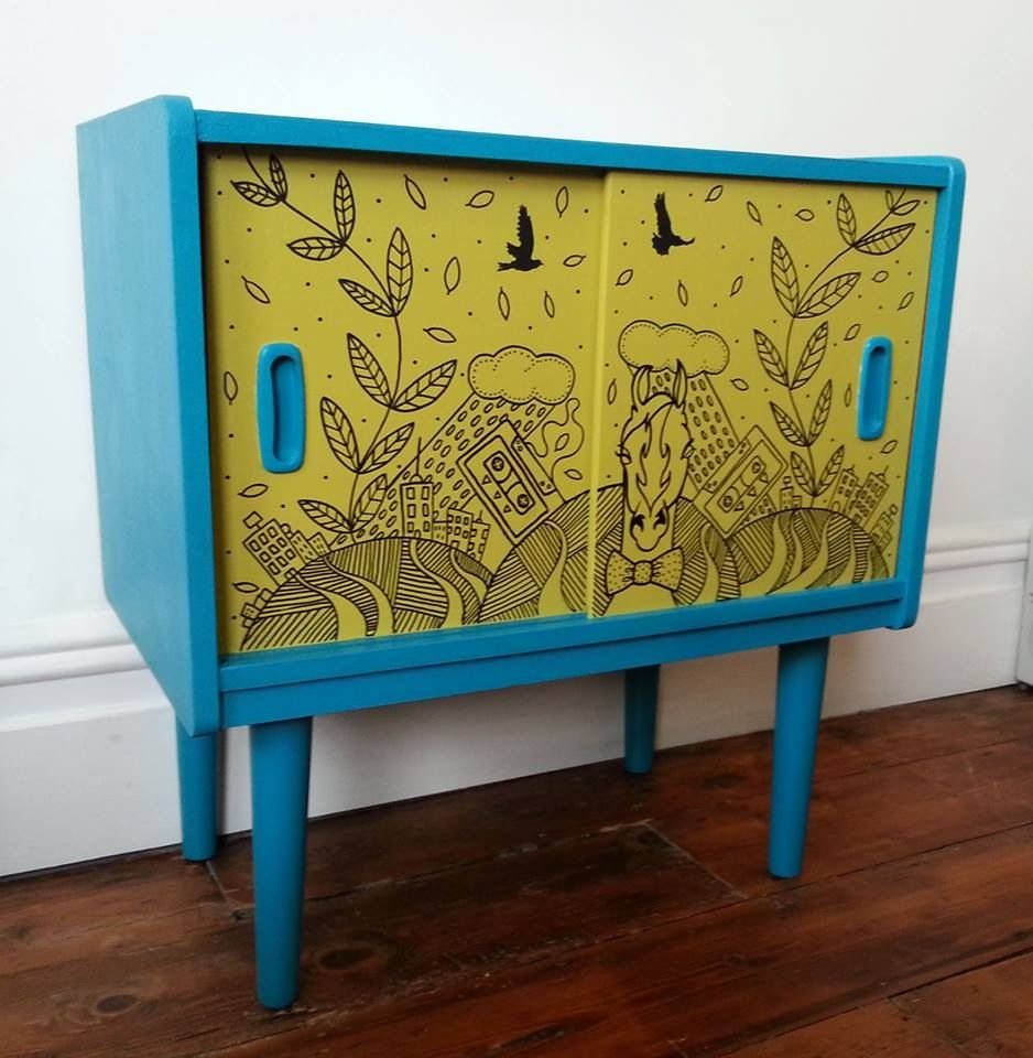Blue and lime green. Hand painted.