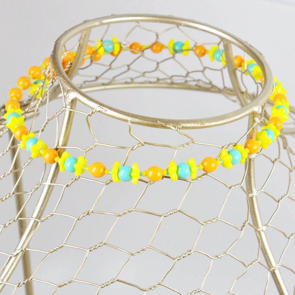 Buy Pastel Yellow Blue and Orange Floral Glass Beaded Memory Wire ...