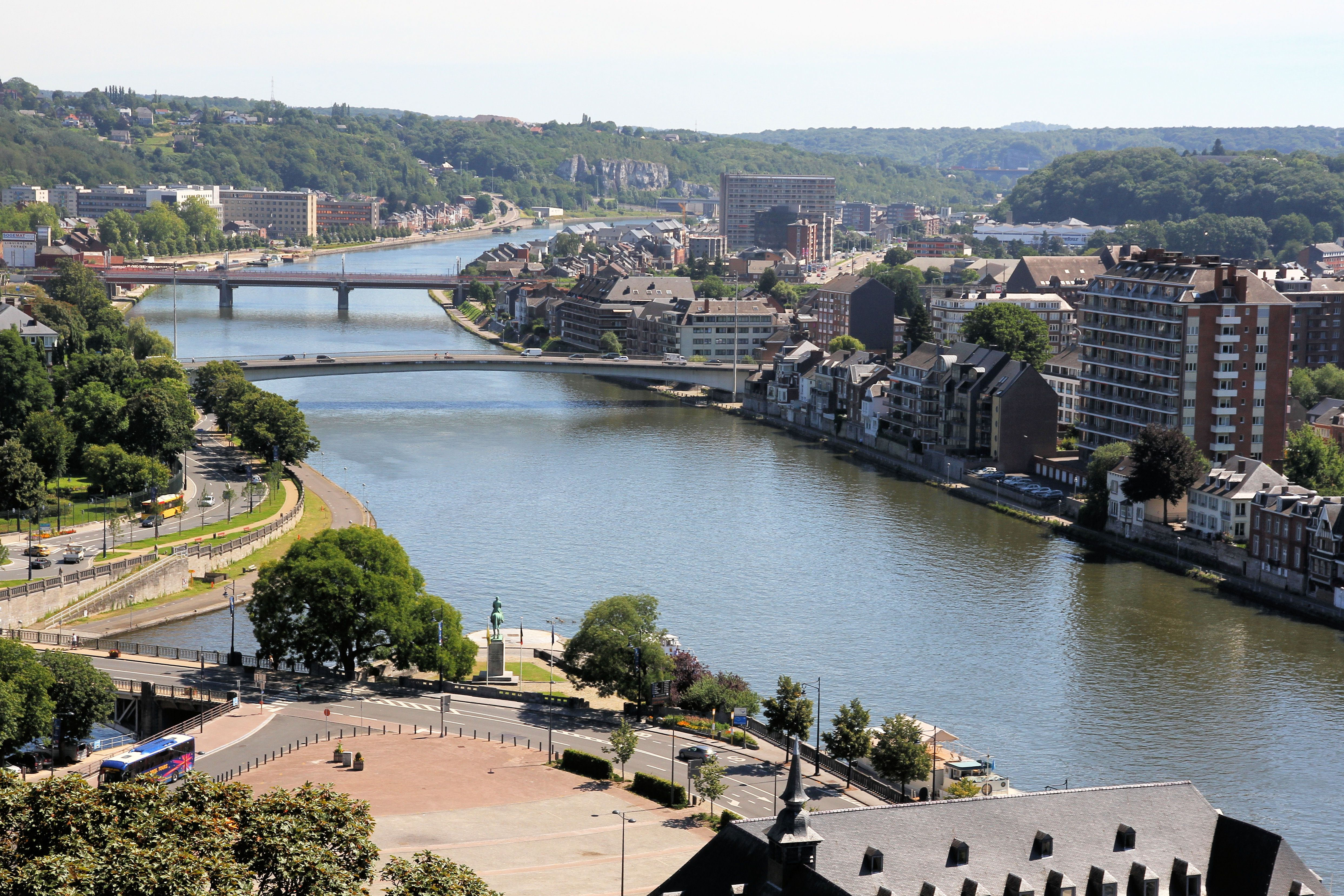 Confluent, where river the Sambre (left) meets river the Meuse in Namur, Belgium