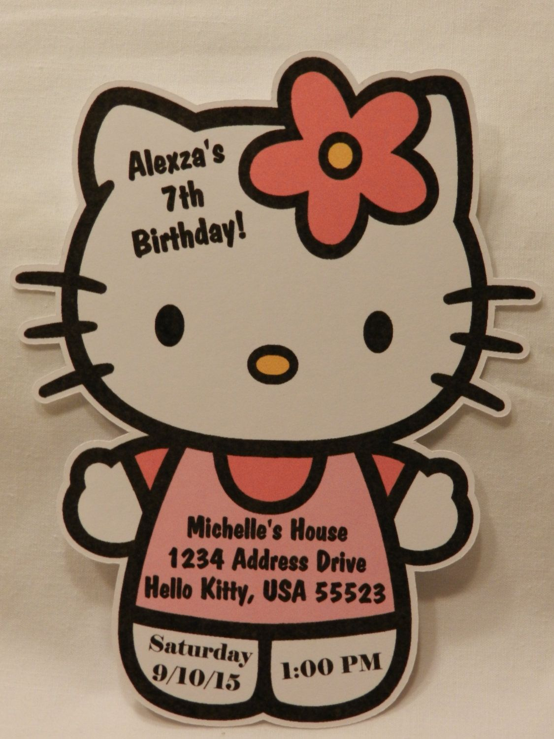 Unique personalized hello kitty shaped birthday party invitations unique personalized hello kitty shaped birthday party invitations with envelopes 1299 via etsy filmwisefo Image collections
