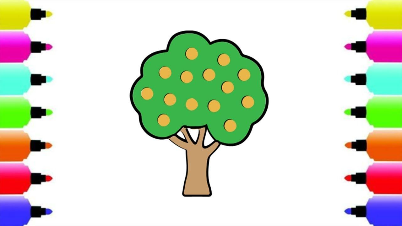 How to draw mango tree for kids | coloring mango tree | Draw mango ...