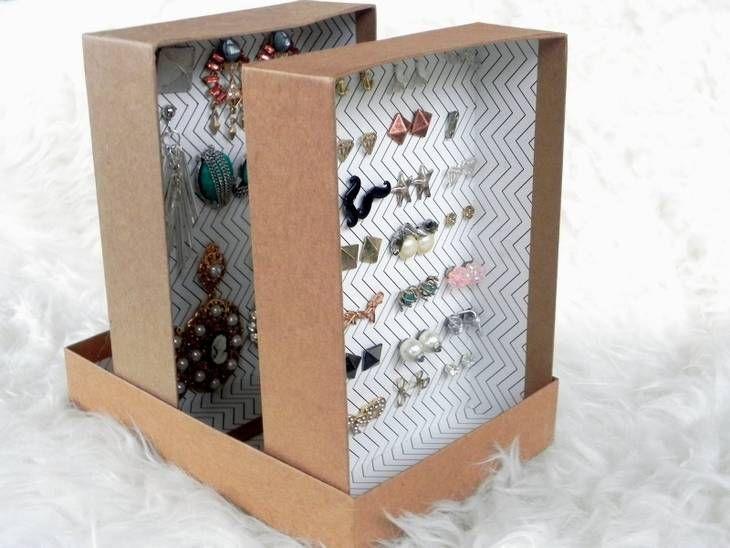 Rangement pour boucles d'oreilles à partir d'une boîte en carton | Fabriquer une boîte à bijoux ...