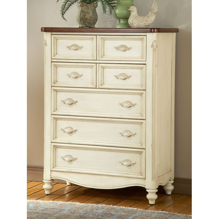 Chateau Antique White 5 Drawer Chest With Images Furniture 5