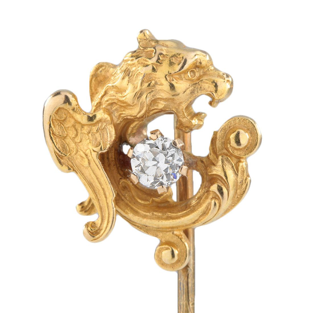 Stick pin stickpin Antique vintage Victorian diamond gold Basilisk   0ld European diamond   14 Karat   Gryphon Griffin   eagle   serpent by DavidJThomasJewelry on Etsy