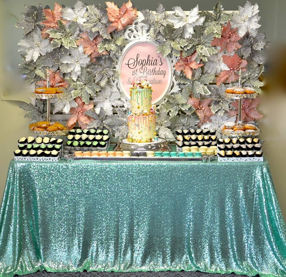 Mint, Peach & Silver 1st Birthday Baby birthday party