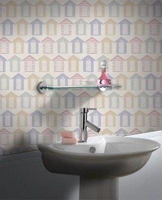 Contour Beside The Seaside Kitchen Bathroom Beach Huts Pastel Washable  Wallpaper | EBay
