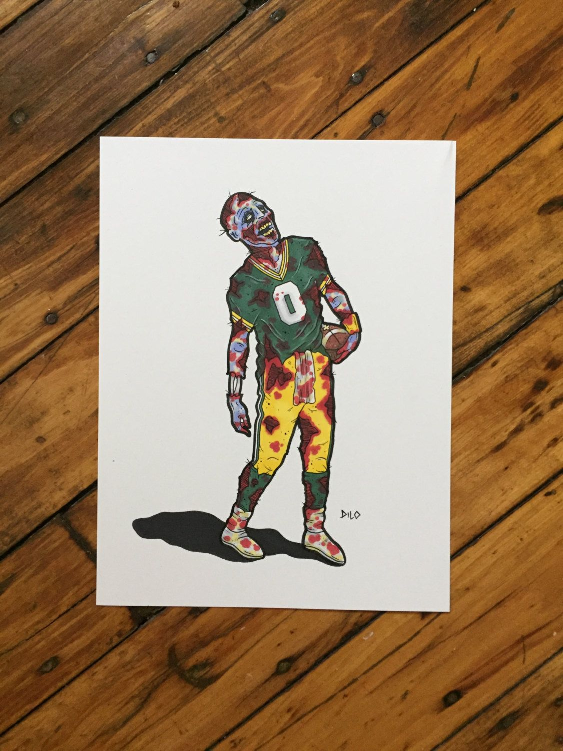 Green Bay Packers, Zombie Football Player, Cheese Head, Packers Decor, Home  Decor, The Walking Dead, Zombies, Original Art, Wall Art