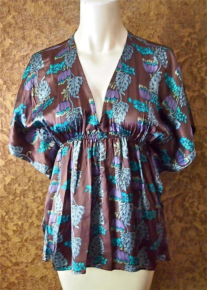 ANTHROPOLOGIE Lux Boho Brown Blue Floral Silk Kimono Sleeve Top Tunic S 4 6