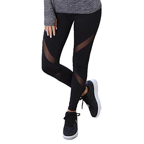 FITTOO Pantalon Yoga Legging de Sport Femme Fitness Collant avec Tulle Femme  Fitness 2e0396e5049