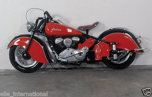 Six Foot Indian Motorcycle Wall Biker Decor Black Red Chrome New