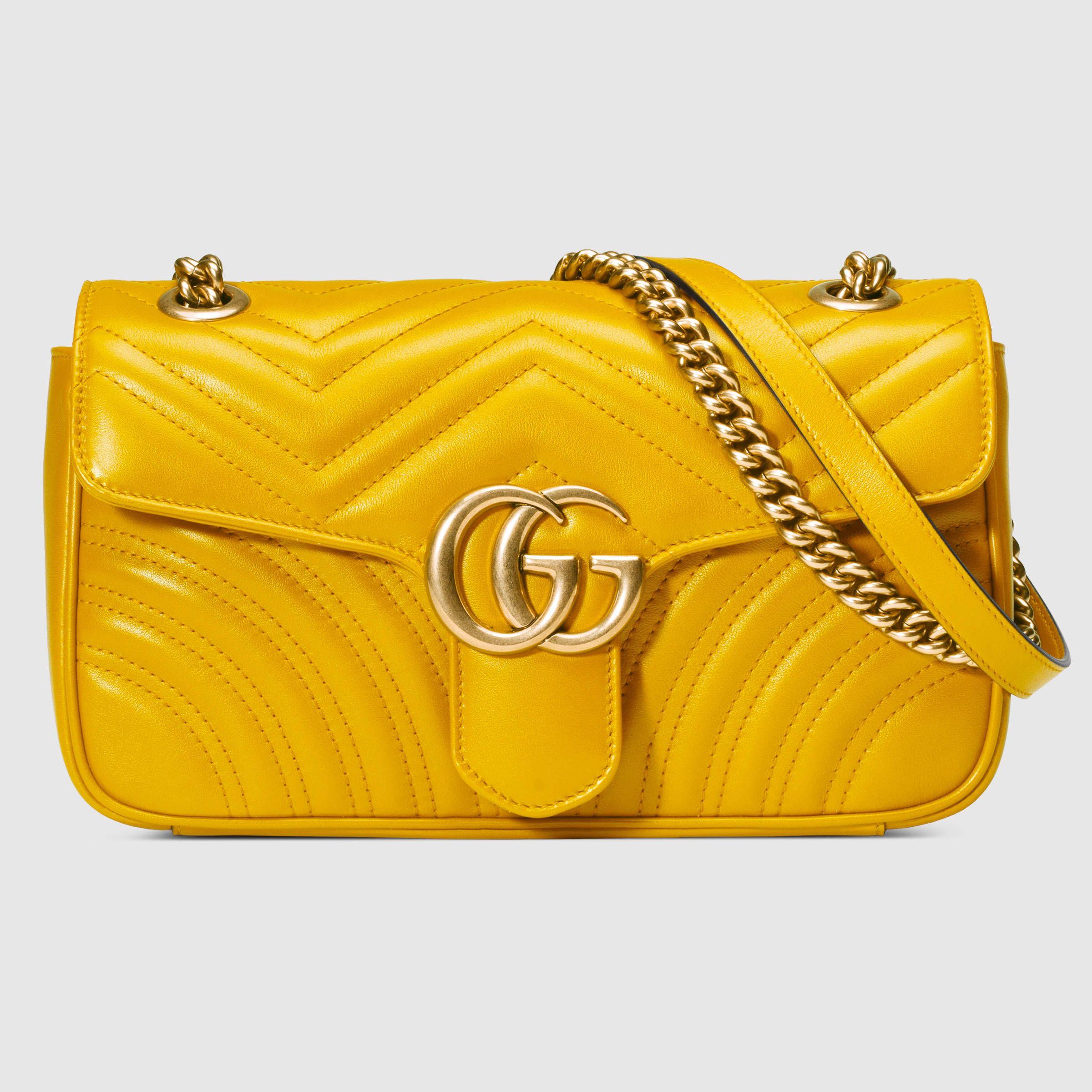 Gg Marmont Matelassé Shoulder Bag Gucci Women S Bags 443497drw3t7223 Yellow