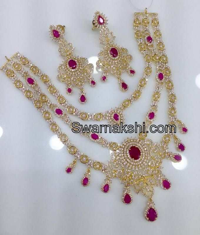 c9cfe6087 ... 1 gram gold jewellery. CZ necklace collection Buy online @ www. swarnakshi.com whatsapp 09581193795 for clarifications.