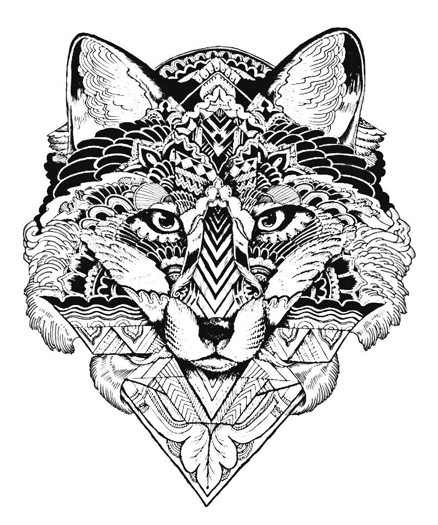 adult coloring pages animals 7 fox scherenschnitte pinterest. Black Bedroom Furniture Sets. Home Design Ideas