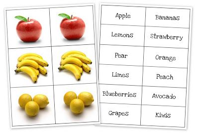 """Fruit and Vegetable Matching Cards. Really cute. If making a pretend garden for dramatic play, could laminate these and use them as """"seed markers"""""""