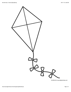 Coloring Page With A Large Kite And Bows To Color