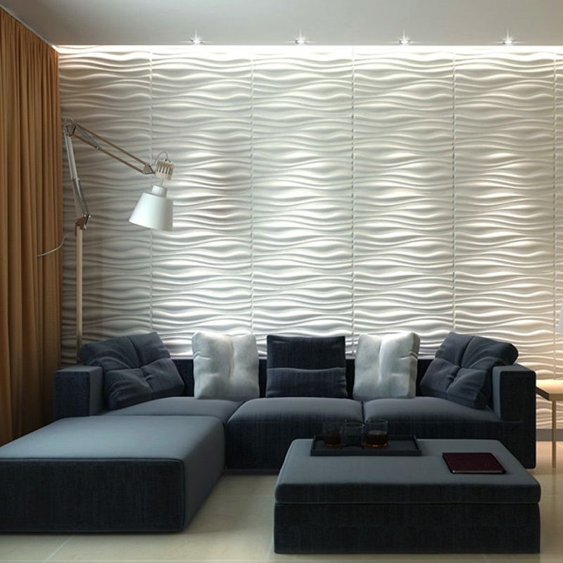 A21064 - Three D Wall Wave Tile Plant Fiber Panel Off-white (Set ...